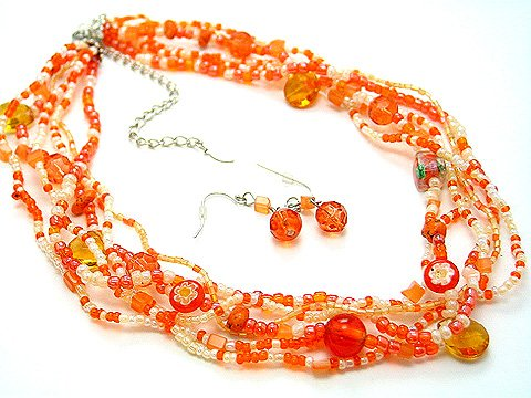 ORANGE BOHO INDIAN GLASS SHELL SEED BEAD NECKLACE SET