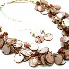 BROWN MULTI STRAND NATURAL STONE SHELL NECKLACE SET
