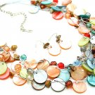 MULTI COLOR MULTI STRAND NATURAL STONE SHELL NECKLACE SET