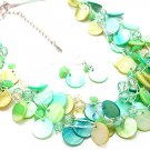 GREEN MULTI STRAND NATURAL STONE SHELL NECKLACE SET