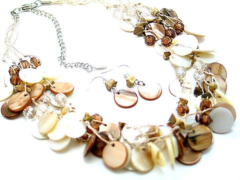 BROWN BEIGE MULTI STRAND NATURAL STONE SHELL NECKLACE SET
