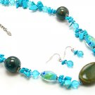 BLUE TURQUOISE AQUA BOHO WOOD BEAD NECKLACE SET