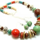 MULTI COLOR BOHO CERAMIC WOOD BEAD NECKLACE SET
