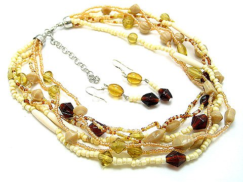 BROWN MOCHA BEIGE BOHO INDIAN GLASS WOOD SEED BEAD NECKLACE SET