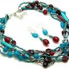 BLUE TURQUOISE CORAL RED BOHO INDIAN GLASS WOOD SEED BEAD NECKLACE SET