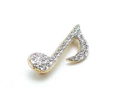 MUSIC MUSICAL NOTE AUSTRIAN CRYSTAL BROOCH PIN
