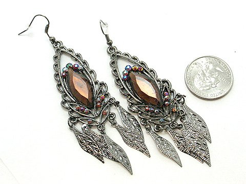 DANGLING BROWN SIMULATED TOPAZ LEAF LEAVES EARRINGS