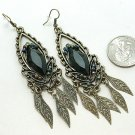 DANGLING JET BLACK SIMULATED ONYX LEAF LEAVES EARRINGS