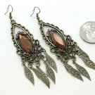 ANTIQUE STYLE GOLD TONE DANGLING BROWN SIMULATED TOPAZ LEAF LEAVES EARRINGS