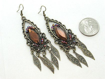 ANTIQUE STYLE GOLD TONE DANGLING BROWN LEAF LEAVES EARRINGS