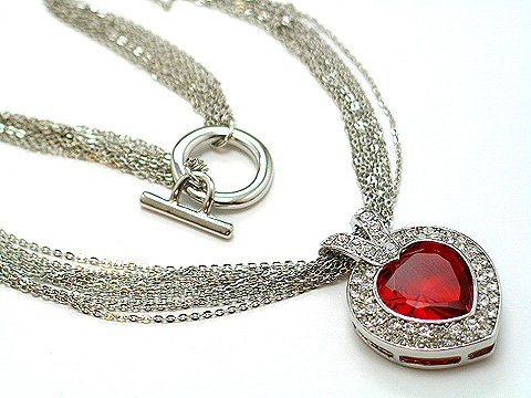MULTI STRAND RED SIMULATED RUBY HEART LOVE CZ STONE AUSTRIAN CRYSTAL NECKLACE