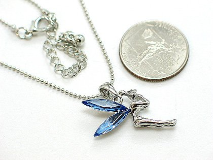 BLUE SIMULATED SAPPHIRE FAIRY TINKERBELL PIXIE CRYSTAL NECKLACE