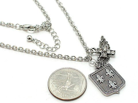 FRENCH FLEUR DE LIS ANGEL WING CROSS NECKLACE