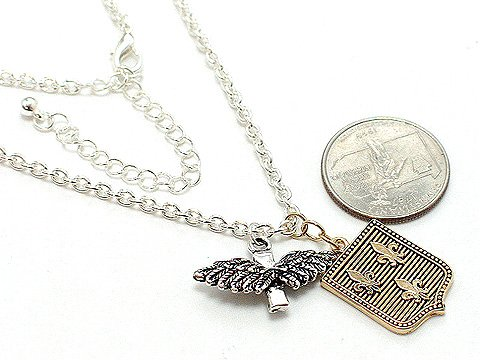 GOLD AND SILVER TONE FRENCH FLEUR DE LIS ANGEL WING CROSS NECKLACE