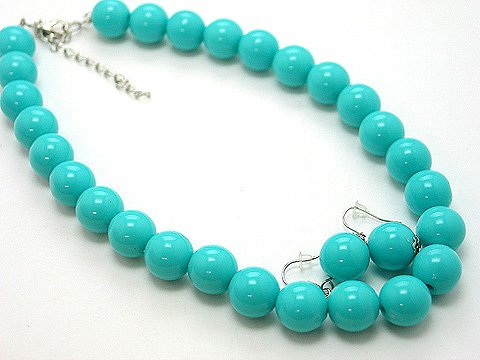 SINGLE ROW BLUE TURQUOISE AQUA LUCITE BEAD BALL NECKLACE SET
