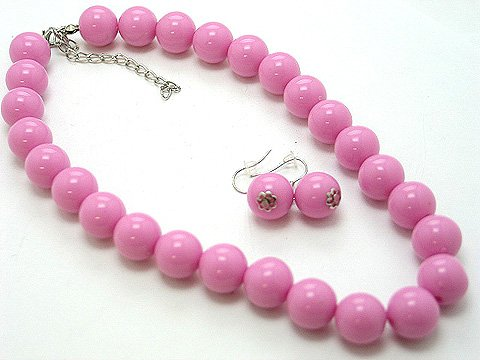 SINGLE ROW HOT PINK ROSE LUCITE BEAD BALL NECKLACE SET