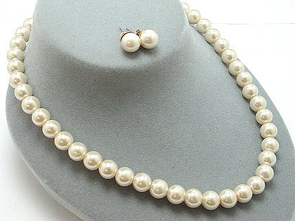SINGLE STRAND CREME CREAM NATURAL FAUX PEARL GLASS BEAD NECKLACE SET
