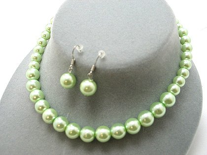 SINGLE STRAND GREEN FAUX PEARL GLASS BEAD NECKLACE SET