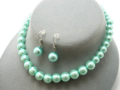 SINGLE STRAND LIGHT BLUE TEAL FAUX PEARL GLASS BEAD NECKLACE SET