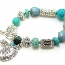 FILIGREE BLUE TURQUOISE LOVE HOPE FAITH INSPIRATIONAL WORD CHARM BRACELET