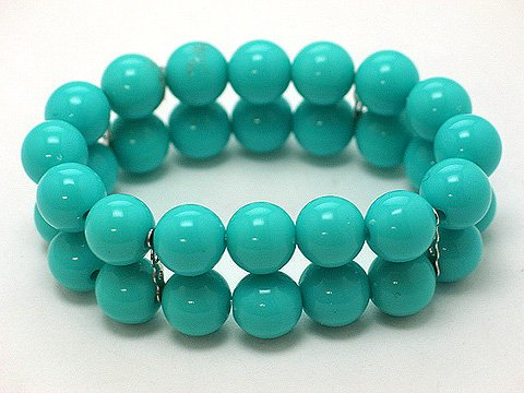 BLUE AQUA TURQUOISE TWO ROW LUCITE BEAD BALL BRACELET