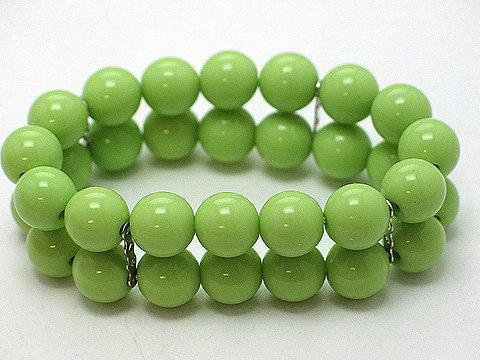 LIGHT OLIVE GREEN TWO ROW LUCITE BEAD BALL BRACELET