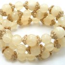 NATURAL THREE PIECE LUCITE BEAD BALL BRACELET