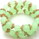 LIGHT OLIVE GREEN THREE PIECE LUCITE BEAD BALL BRACELET