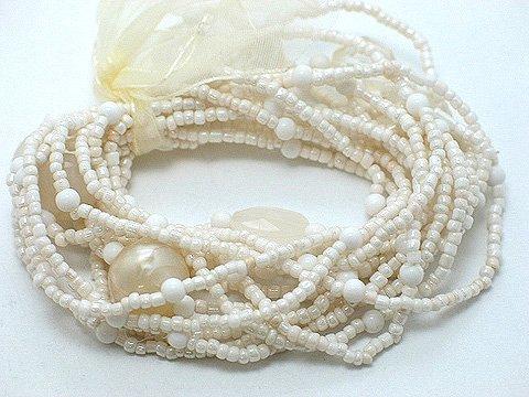 CREME CREAM NATURAL WHITE  MULTI STRAND LUCITE BEAD BALL RIBBON BRACELET