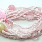 LIGHT PINK ROSE MULTI STRAND LUCITE BEAD BALL RIBBON BRACELET