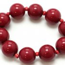 DARK RED SINGLE ROW LUCITE BEAD BALL BRACELET