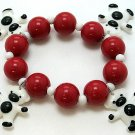 DARK RED TEDDY BEAR SINGLE ROW LUCITE BEAD BALL BRACELET