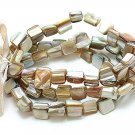 NATURAL MULTI STRAND SHELL BEAD RIBBON BRACELET