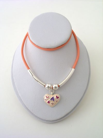 KIDS CHILDS GIRLS PINK HEART LOVE BEAD NECKLACE