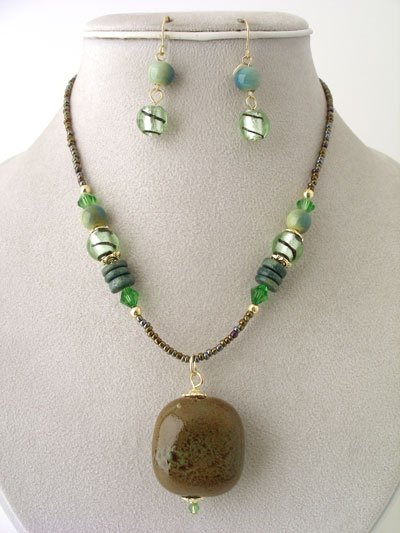 CHUNKY OLIVE GREEN BROWN BOHO CERAMIC GLASS WOOD BEAD NECKLACE SET
