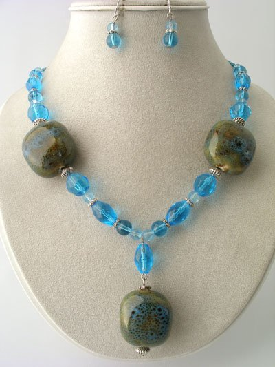 CHUNKY BLUE AQUA BROWN BOHO CERAMIC GLASS WOOD BEAD NECKLACE SET