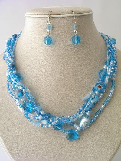 BLUE TURQUOISE AQUA BOHO INDIAN GLASS SHELL SEED BEAD NECKLACE SET