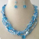 BLUE TURQUOISE AQUA BOHO INDIAN GLASS SHELL SEED BEAD NECKLACE SET