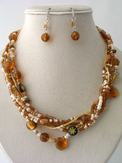 BROWN FAUX TOPAZ BOHO INDIAN GLASS SHELL SEED BEAD NECKLACE SET