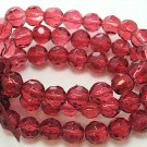 RED MULTI STRAND GLASS BEAD BALL RIBBON BRACELET