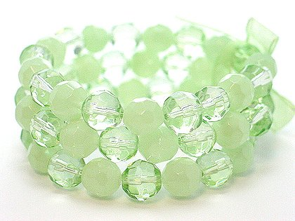 LIGHT OLIVE GREEN MULTI STRAND GLASS BEAD BALL RIBBON BRACELET