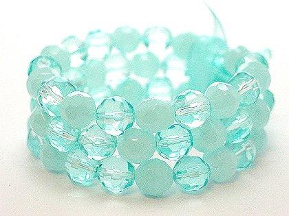 LIGHT BLUE TEAL MULTI STRAND GLASS BEAD BALL RIBBON BRACELET