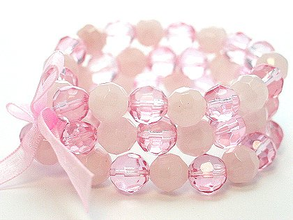 LIGHT PINK ROSE MULTI STRAND GLASS BEAD BALL RIBBON BRACELET