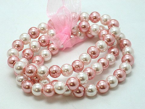 PINK WHITE CREAM MULTI STRAND GLASS BEAD BALL RIBBON BRACELET