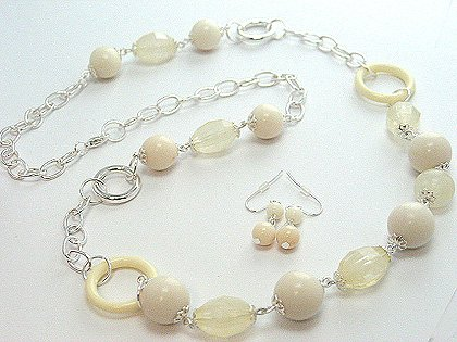 LONG NATURAL WHITE CREAM LUCITE BEAD NECKLACE SET