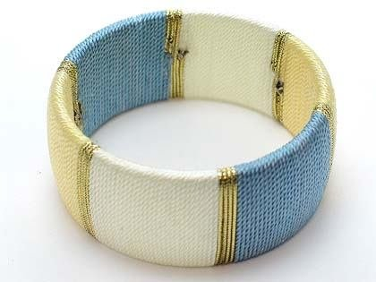BLUE YELLOW GOLD CORD FABRIC BANGLE BRACELET