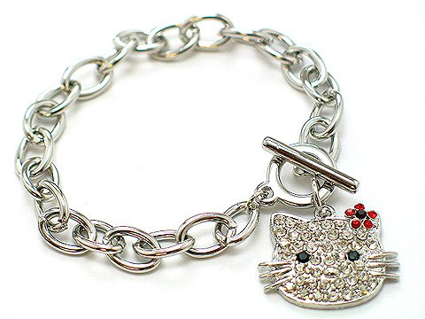 HELLO KITTY CAT KITTEN CRYSTAL CHARM BRACELET