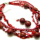 RED MULTI STRAND BOHO NATURAL STONE CERAMIC FAUX PEARL SHELL NECKLACE SET