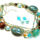 TEAL BLUE AQUA BOHO MULTI STRAND CERAMIC WOOD GLASS FAUX PEARL NECKLACE SET