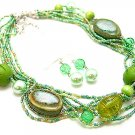 LIGHT OLIVE GREEN BOHO MULTI STRAND CERAMIC WOOD GLASS FAUX PEARL NECKLACE SET